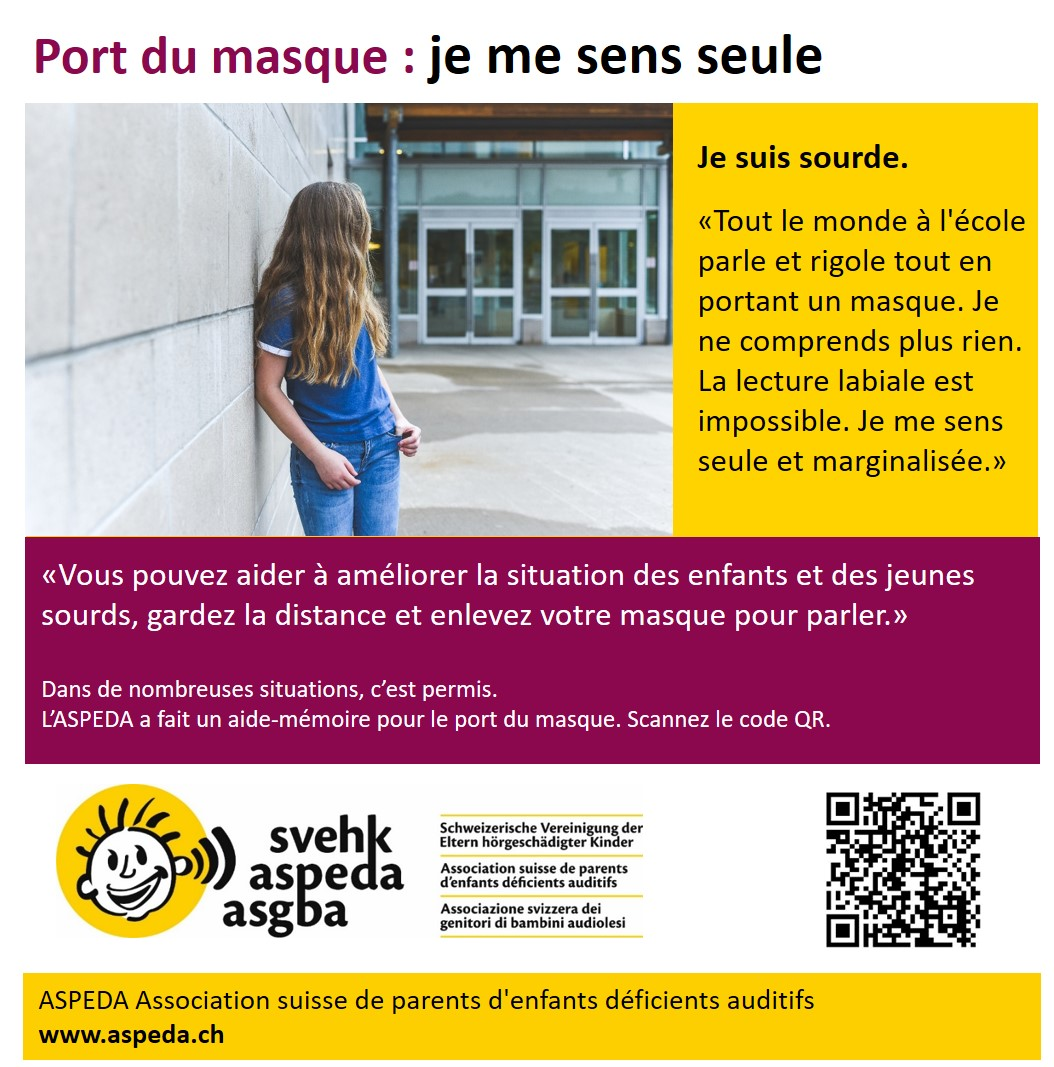 ASPEDA port du masque ecole sourd
